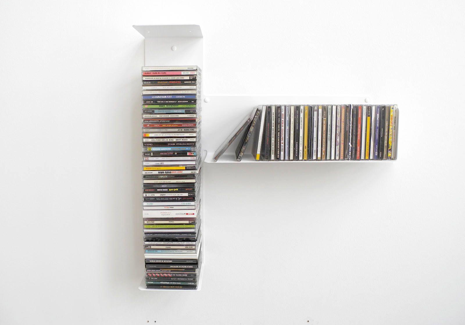 """Étagère range cd """"t"""" asymétrique droite - 60x60 cm - acier"""