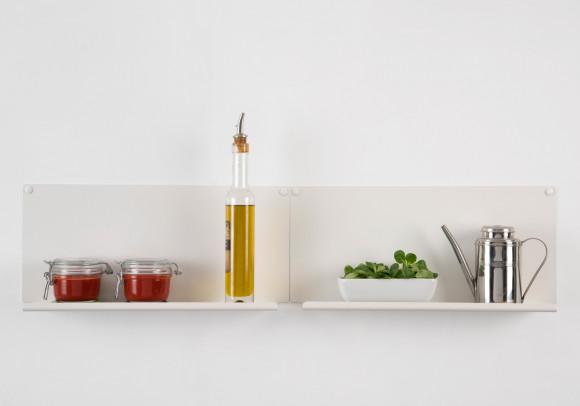 """Étagère pour la cuisine """"LE"""" - lot de 2 - 45x10 cm - Acier - Blanc"""