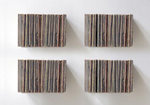 """Étagère de rangement pour vinyles """"UBD""""  - Lot de 4 - 240 vinyles - Acier"""