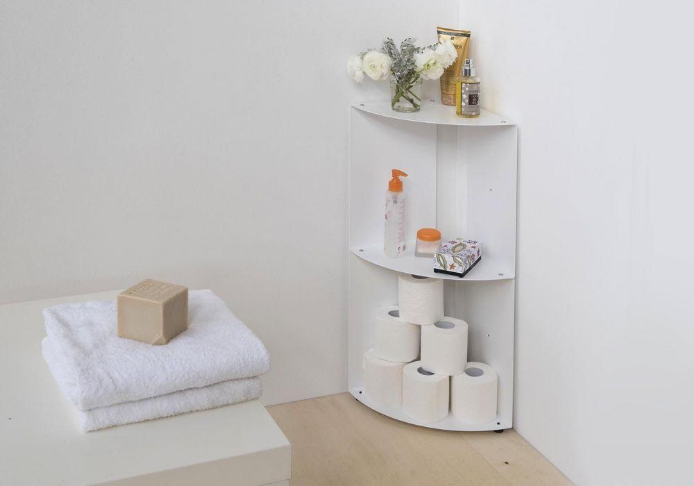 Bathroom corner shelf DANgolo - Steel - 25x25x70cm