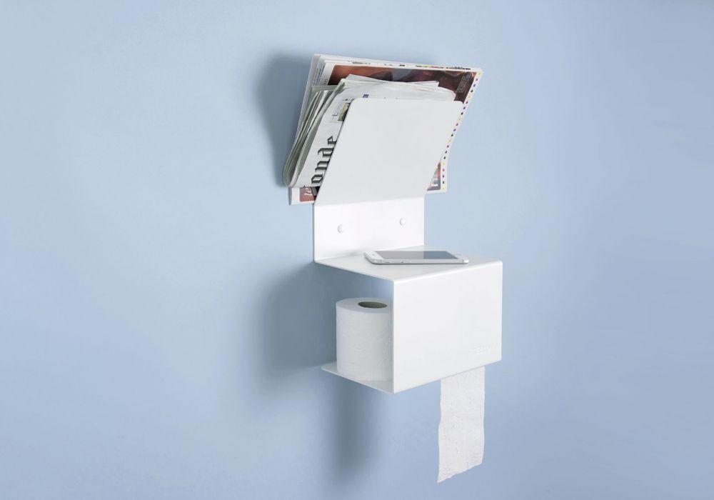 Porte-papier toilette 37,5x15x22 - Acier blanc - Modèle TEElette