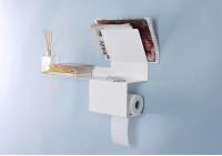 Portarrollos papel higienico - Acero - Blanco - 37,5x15x22cm