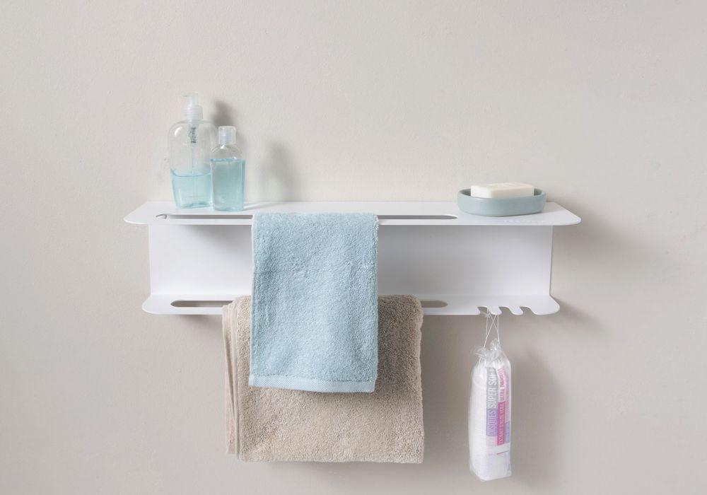 Porte serviette mural pour salle de bain design blanc for Porte 60 cm de large