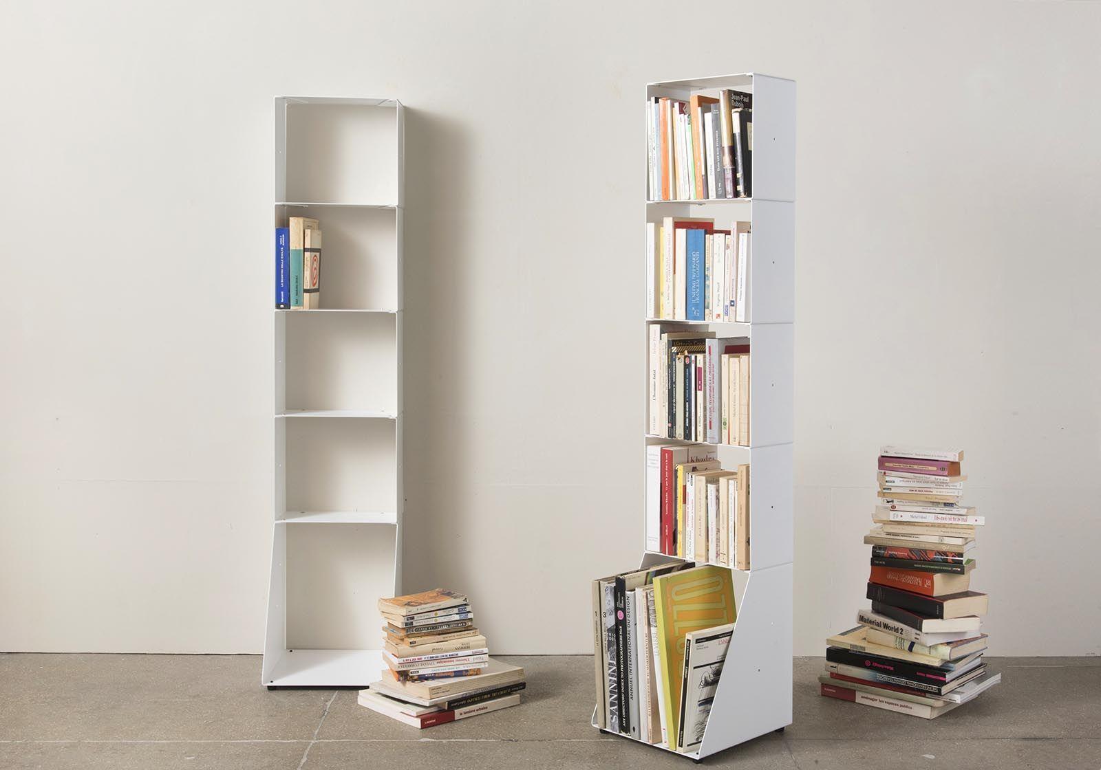 meuble biblioth que design 30 cm m tal blanc 5 niveaux. Black Bedroom Furniture Sets. Home Design Ideas