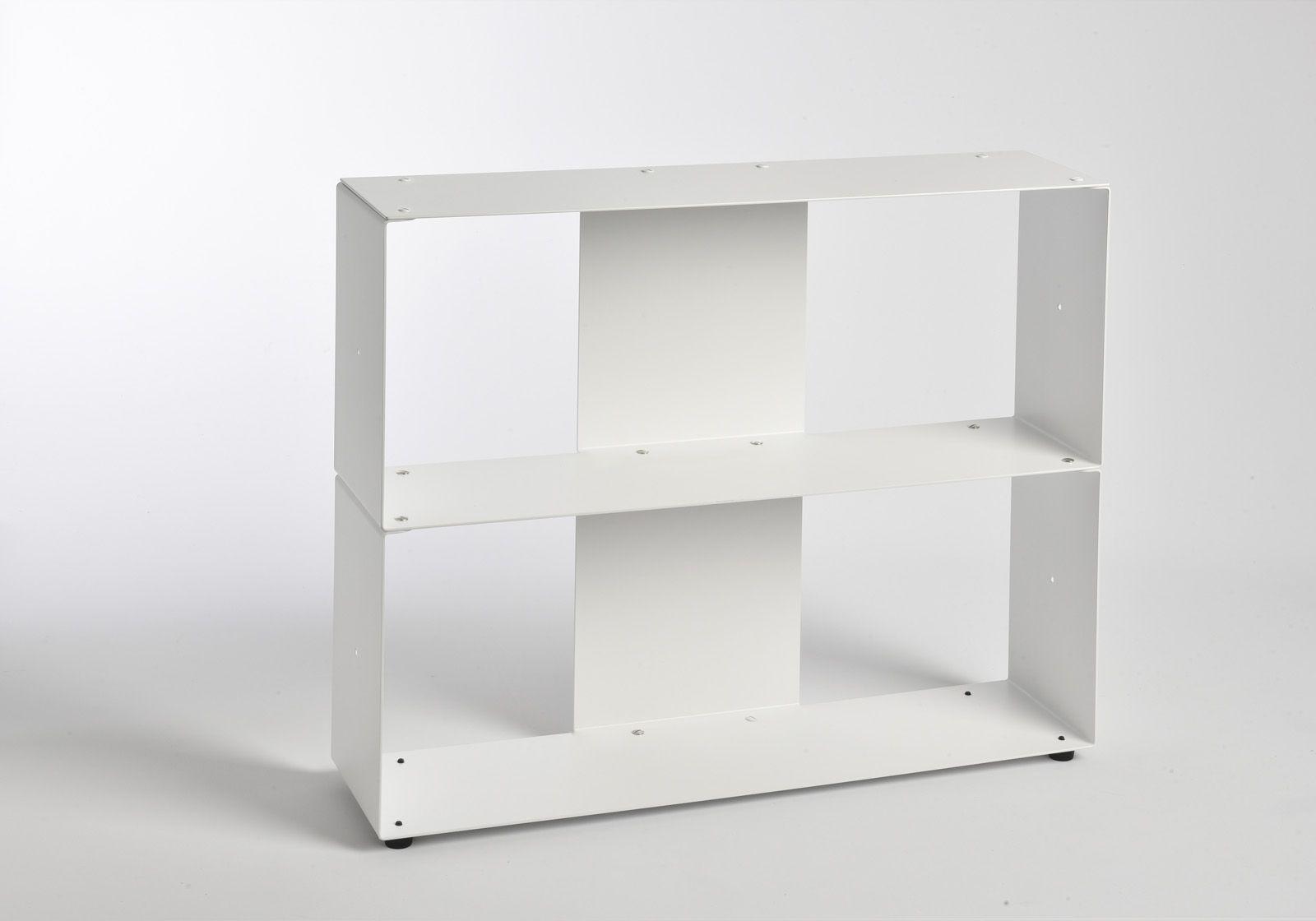 biblioth que basse 60 cm m tal blanc 2 niveaux. Black Bedroom Furniture Sets. Home Design Ideas