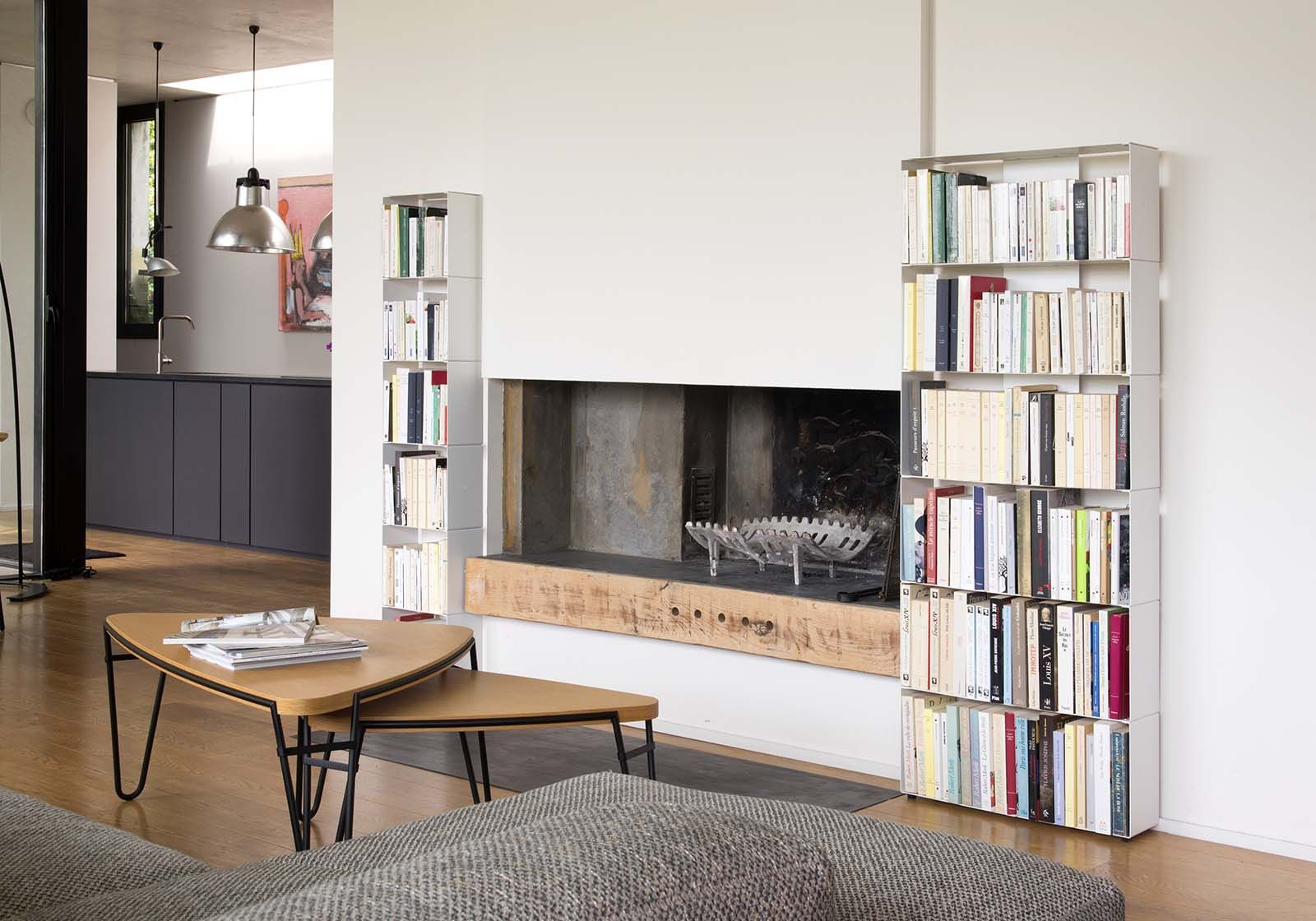 Libreria Profondità 15 Cm libreria arredamento 60 cm - metallo bianco - 2 livelli