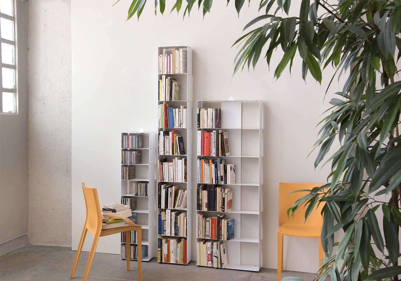 meuble biblioth que 60 cm metal blanc 6 niveaux. Black Bedroom Furniture Sets. Home Design Ideas