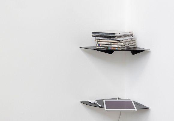 Mensola angolare TEEgolo 24 cm - Set di 2 - Acciaio nero