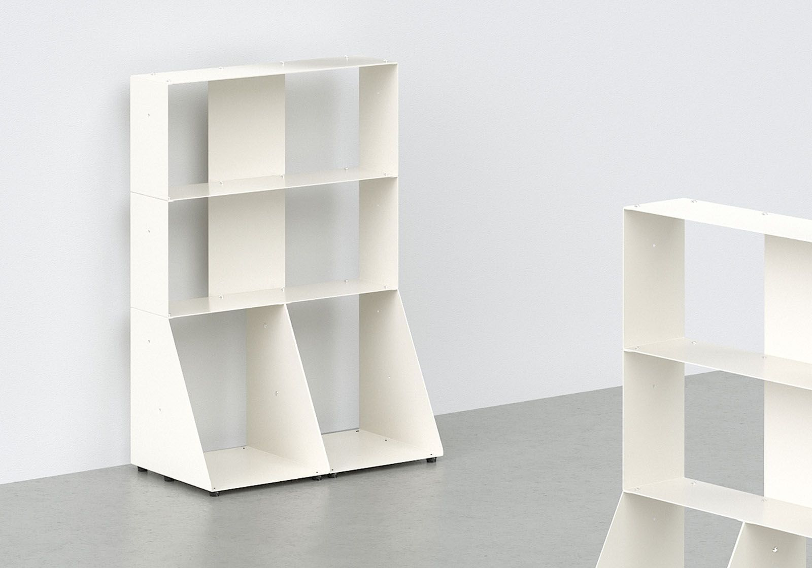 biblioth que basse 60 cm m tal blanc 3 niveaux. Black Bedroom Furniture Sets. Home Design Ideas