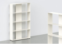White Bookcase W60 H100 D15 cm - 4 shelves