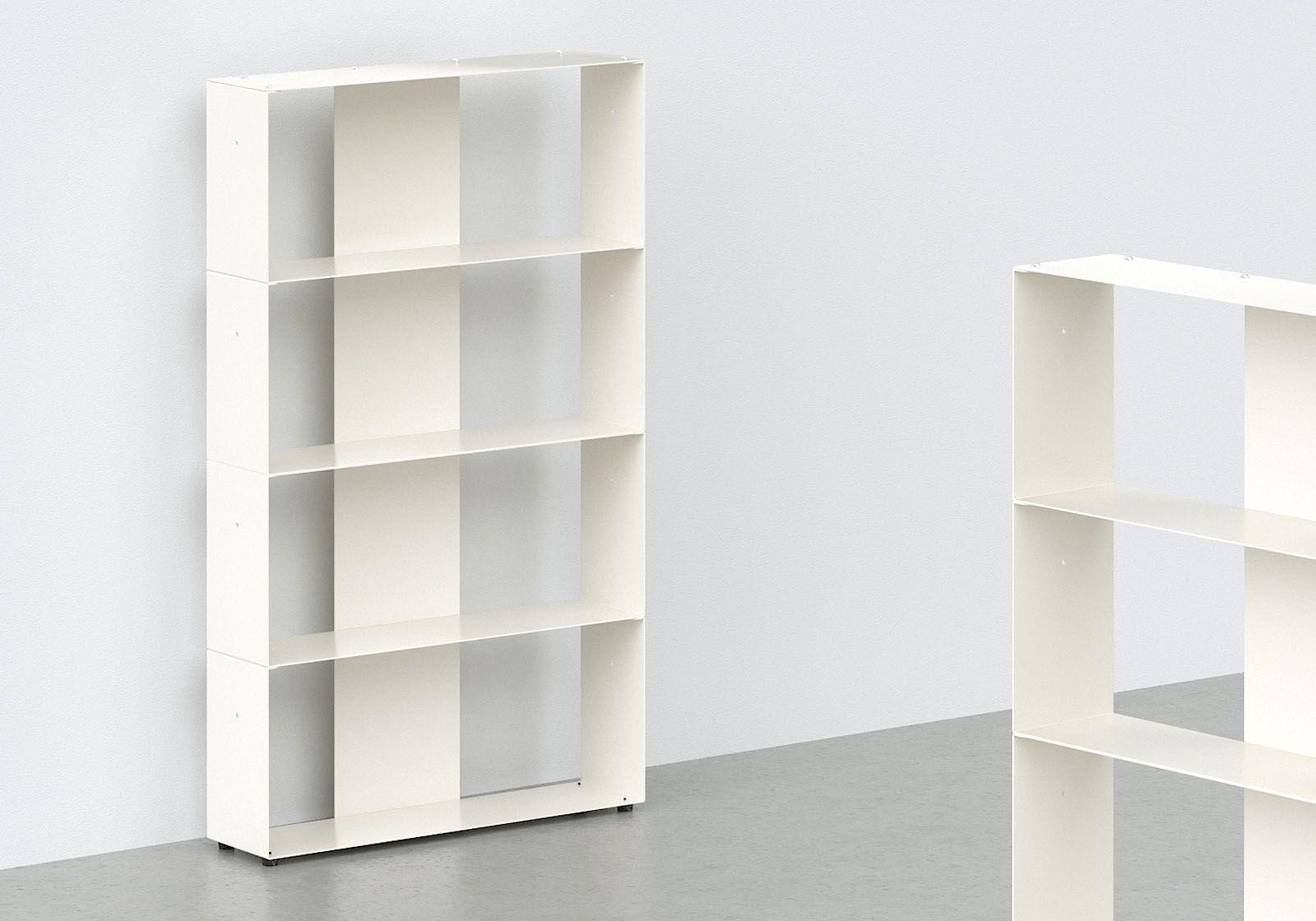 meuble biblioth que m tal blanc l60 h100 p15 cm 4 niveaux. Black Bedroom Furniture Sets. Home Design Ideas