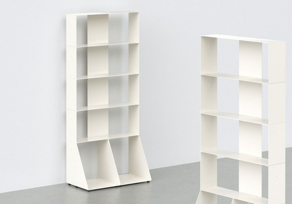 Meuble Bibliotheque Design 60 Cm Metal Blanc 5 Niveaux
