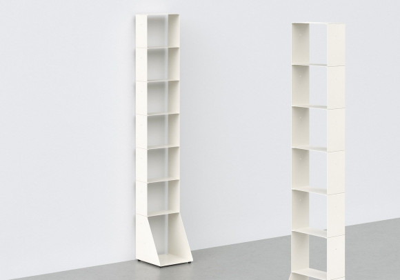 Libreria alta 30 cm - metallo bianco - 7 livelli