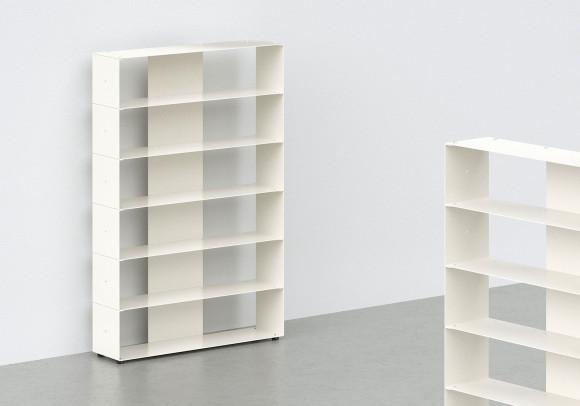 Range cd 60 cm - métal blanc - 6 niveaux