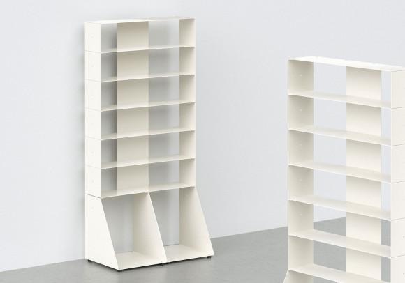 Range cd et vinyle 60 cm - métal blanc - 7 niveaux