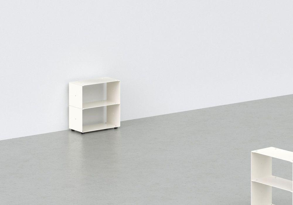Range cd - métal blanc L30 H30 P15 cm - 2 niveaux