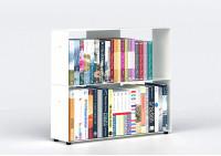 Bücherregal weiß 2 ablagen B60 H50 T15 cm