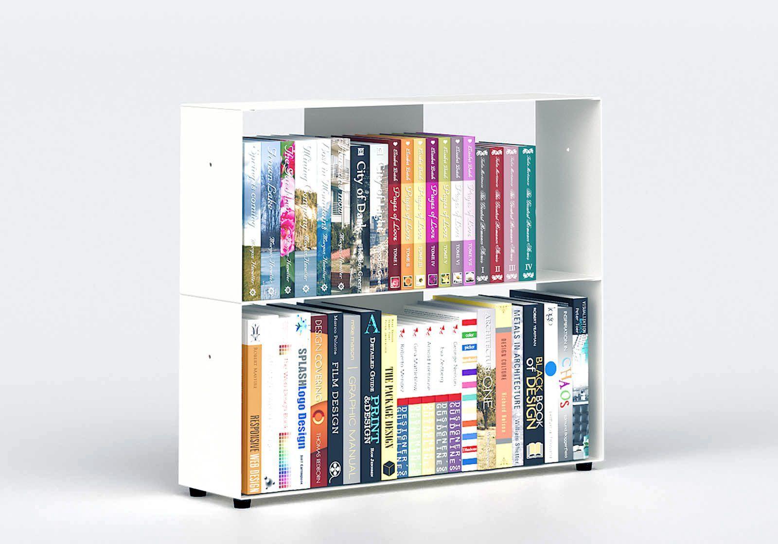 Bibliothèque basse 60 cm - métal blanc - 2 niveaux