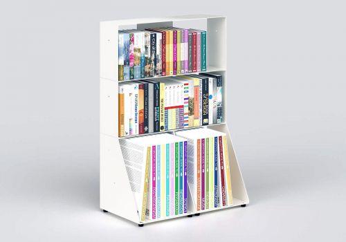 Libreria arredamento 60 cm - metallo bianco - 3 livelli