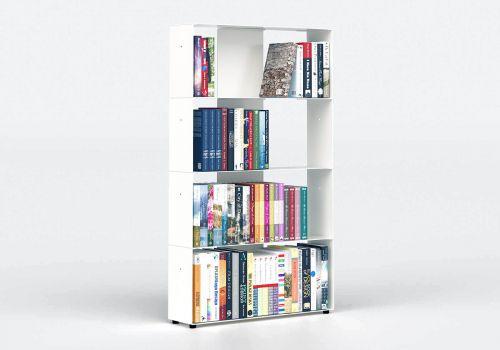 Bücherregal weiß 4 ablagen B60 H100 T15 cm