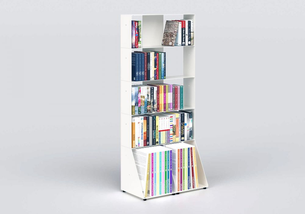White Bookcase W60 H135 D32 cm - 5 shelves