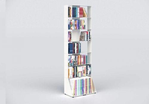 Bibliothèque colonne 60 cm - métal blanc - 7 niveaux