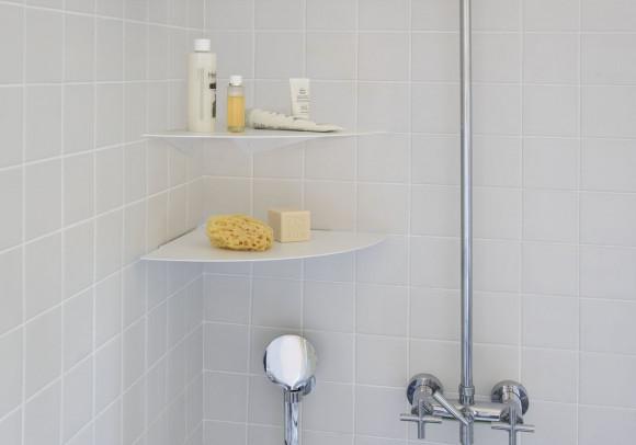 Étagère angle salle de bain 36 cm - Lot de 2