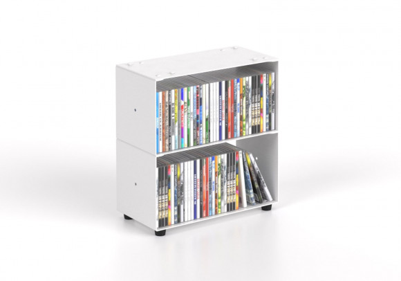 Range cd 30 cm - métal blanc - 2 niveaux