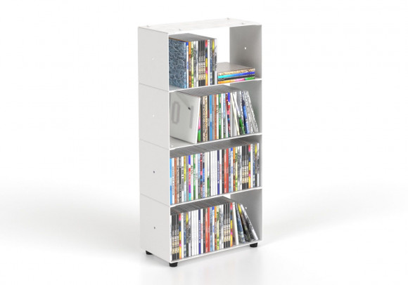 Range cd 30 cm - métal blanc - 4 niveaux
