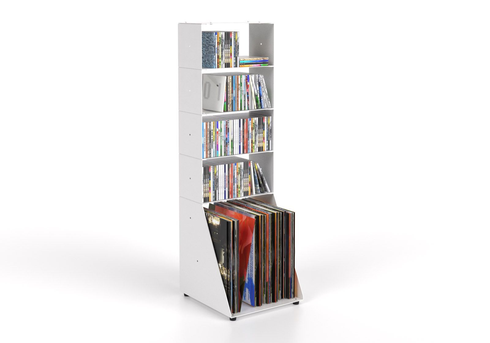 Estanteria CD y Vinilo 30 cm - metral blanco - 5 niveles