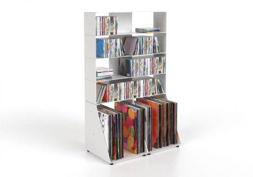 Estanteria CD y Vinilo 60 cm - metal blanco - 5 niveles