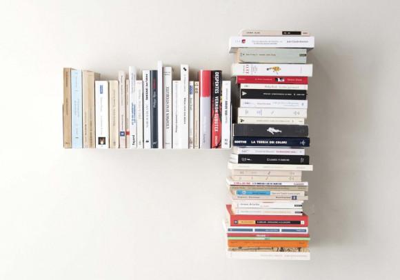 """Mensola per libri """"T"""" asimmetrica SINISTRA - 60x60 cm - Acciao"""