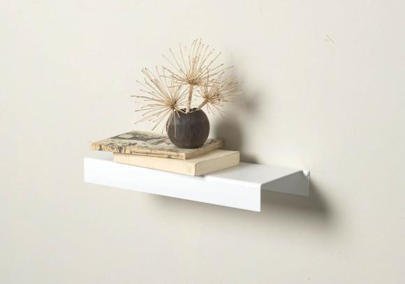 Scaffale a parete - bianco acciaio 45 cm