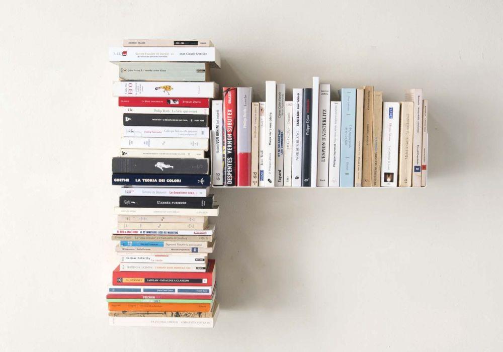 "Mensola per libri ""T"" asimmetrica DESTRA - 60x60 cm - Acciao"