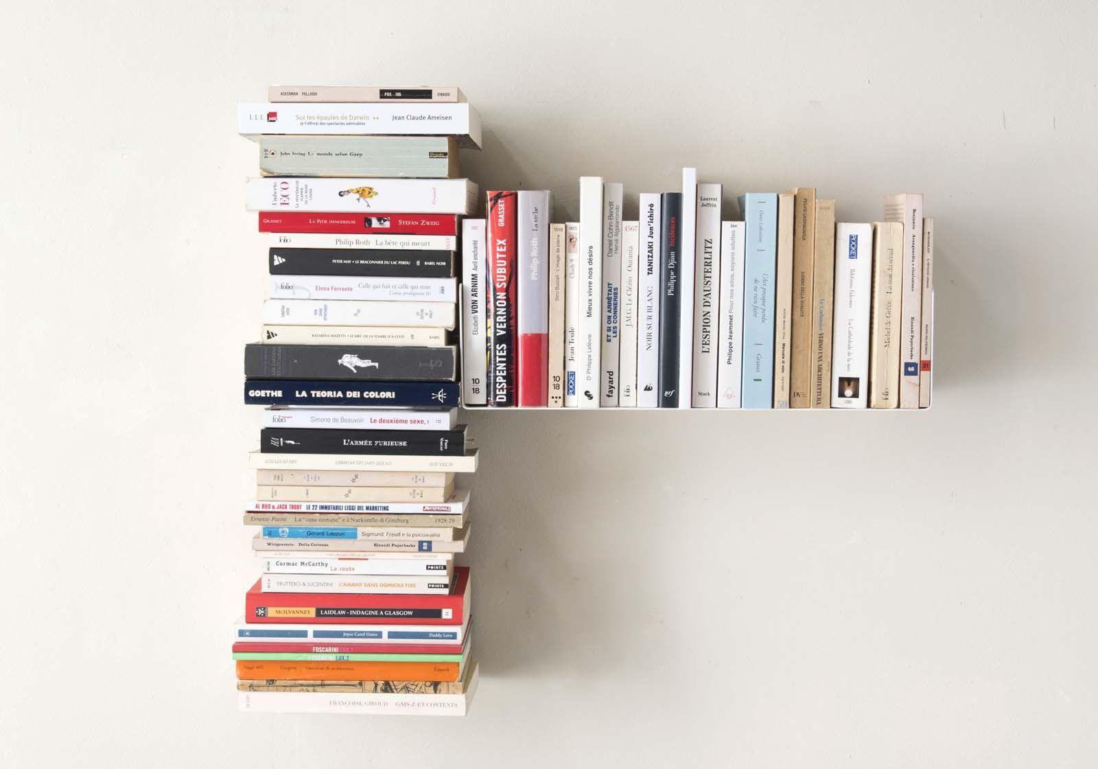 "Mensola per libri ""T"" asimmetrica DESTRA - 60x60 cm - Acciaio"