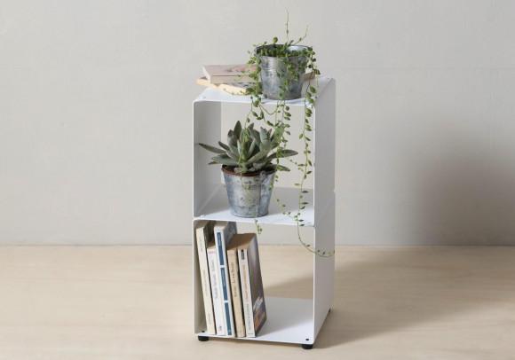 Mensola cubo - Mobile colonna in acciaio - 2 livelli