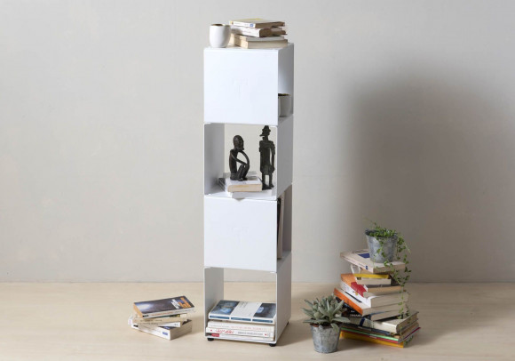 Cube shelf - Steel column storage - 4 shelves